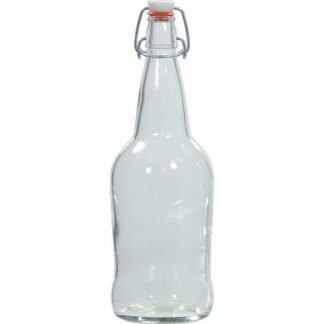 EZ Cap Bottles - 32 oz Clear Swing Top (Qty 12) - B353